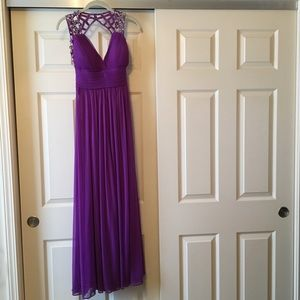 Betsy & Adam Purple Prom Dress